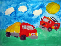 Dump truck and fire truck - painted by child. Hand drawn gouache painting of two trucks: dump truck and fire truck. Made by child Stock Images