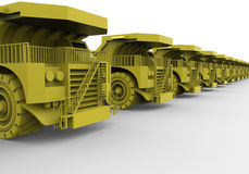 Dump truck fleet concept. 3D rendered illustration for a dump truck fleet. The composition is on a white background with shadows royalty free illustration
