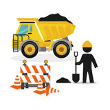 Dump truck full barrier cone road and worker shovel. Illustration eps 10 Stock Image