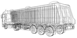 dump truck Getrennt Geschaffene Illustration von 3d Draht-Rahmen Stockbilder