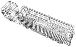 dump truck Getrennt Geschaffene Illustration von 3d Draht-Rahmen Lizenzfreies Stockfoto