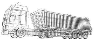 dump truck Getrennt Geschaffene Illustration von 3d Draht-Rahmen Stockbild
