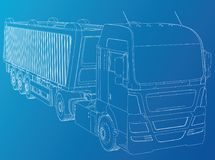dump truck Getrennt Geschaffene Illustration von 3d Draht-Rahmen Stockfotografie