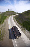 Dump Truck on the Highway. 16mm Wide Angle top view in 12MP Royalty Free Stock Image