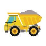 Dump truck icon. Under construction concept. Vector graphic Stock Photos