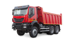 Dump truck isolated on white. New red dump truck isolated on white Stock Image