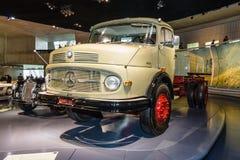 The dump truck Mercedes-Benz LK338 Kepper, 1960. STUTTGART, GERMANY- MARCH 19, 2016: The dump truck Mercedes-Benz LK338 Kepper, 1960. Mercedes-Benz Museum Royalty Free Stock Photography