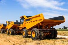 Dump truck. Parking big yellow transporter royalty free stock photo