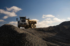 Dump Truck on the Pile of Gravel Royalty Free Stock Photo