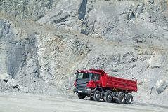Dump Truck in a Quarry Stock Photo