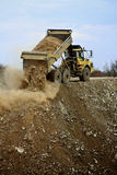 Dump truck. Removing the rubble of a demolition Stock Photo