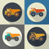 Dump truck  round flat icon with long shadows. Stock Image