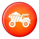 Dump truck with sand icon, flat style Royalty Free Stock Images