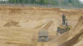 Dump Truck in sandy quarry stock video footage