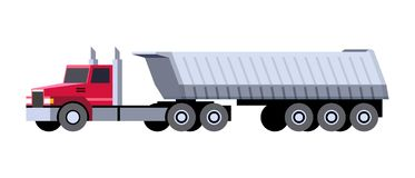 Dump truck semi trailer. Minimalistic icon semi-trailer tractor dump truck front side view. Dumper vehicle. Vector isolated illustration royalty free illustration