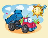 Dump-truck and the sun working together Royalty Free Stock Photo