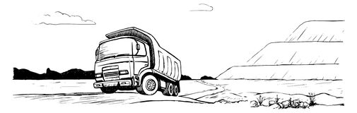 Dump Truck. Tipper black and white sketch Stock Photo