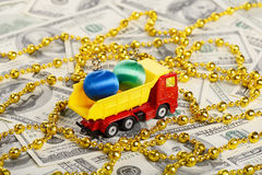 Dump truck toy transported New Year toys Stock Photography