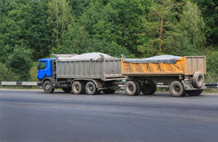 Dump truck with  trailer Stock Photography