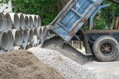 Dump truck unloading sand at construction site Royalty Free Stock Photos