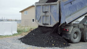 Dump Truck unloads the ground at the construction site. Building materials stock video