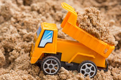 Dump truck unloads soil Royalty Free Stock Photo