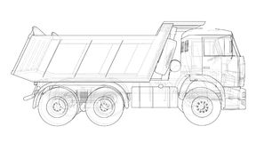 Dump truck. Vector. Rendering of 3d. Wire-frame style. The layers of visible and invisible lines are separated stock illustration