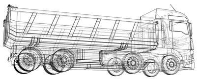 dump truck Vektor schuf Illustration von 3d Draht-Rahmenart Die Schichten von sichtbaren und unsichtbaren Linien werden getrennt vektor abbildung