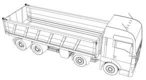 dump truck Vektor schuf Illustration von 3d Draht-Rahmenart Die Schichten von sichtbaren und unsichtbaren Linien werden getrennt lizenzfreie abbildung