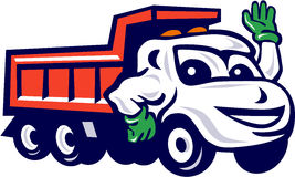 Dump Truck Waving Cartoon vector illustration
