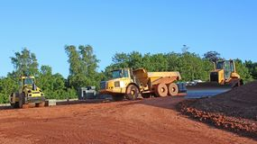 Dump truck on a construction site stock photography