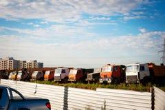 Dump trucks on construction site Stock Photo