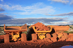 Dump Trucks. On a road construction site Stock Photography