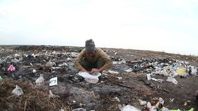 Dump unemployed homeless dirty looking man  food. Waste in a landfill social  video stock footage