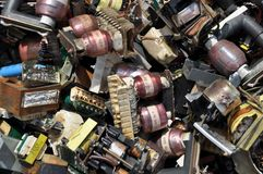 Dump yard. Full of old damaged electronic components Royalty Free Stock Photography