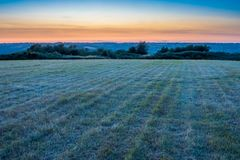 Dumpdon Hill Fort, the beautiful Otter Valley near Beacon, Honiton, Devon, UK. UK countryside at sunset royalty free stock images