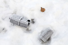 Dumped Car Parts with Frost Stock Photos