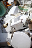 Dumped ceramic toilets Stock Photo