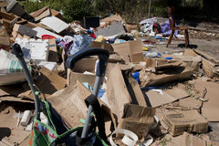 Trash Garbage Rubbish Junk. Household waste dumped on the side of the road. Copyspace Royalty Free Stock Photography