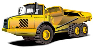 Dumper. Detailed ial image of yellow dumper on white background Stock Photography