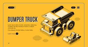 Dumper ciężarówki sieci sztandaru isometric wektorowy szablon ilustracji