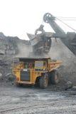 Dumper in a coal mine. Loading coal in a dumper in India Stock Photos