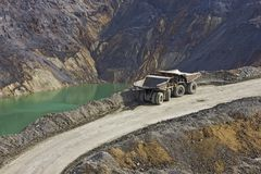 Dumper in open pit Stock Image