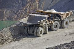 Dumper in open pit Royalty Free Stock Images