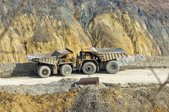 Dumper in open pit Stock Images