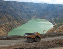 Dumper and polluted, toxic lake of the flotation of copper mines Stock Photos