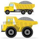 Dumper with rubble. Freight transport, heavy truck, dumper icon. Flat design, vector illustration, vector Stock Photography
