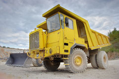 Dumper truck. At a construction site Stock Photography