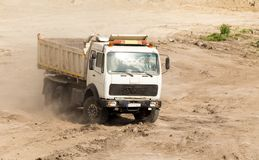 Dumper truck at construction site royalty free stock photo
