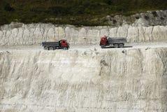 Dumper Trucks In A Chalk Pit